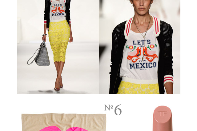 let's all go to mexico shirt by rebecca minkoff and yellow skirt
