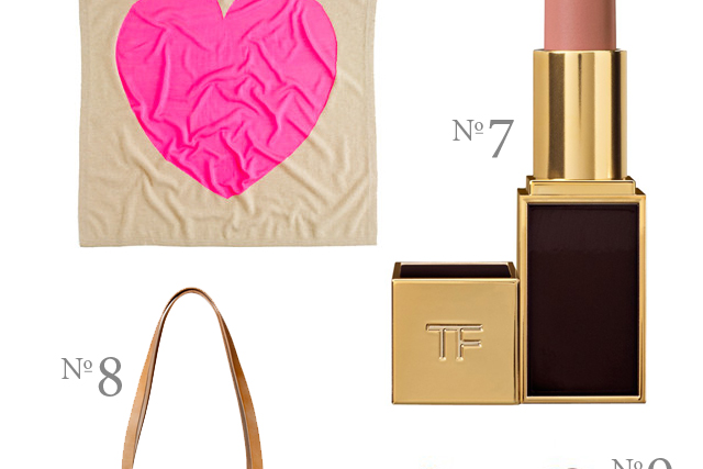 cashmere heart blanket from j.crew and tom ford lipstick in nude color