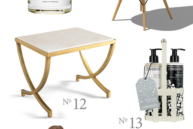 dwell studio brass side table and cowshed handsoap