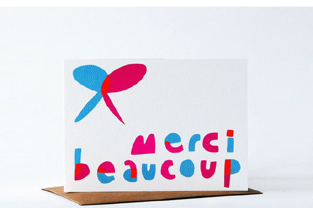 merci beaucoup thank you card