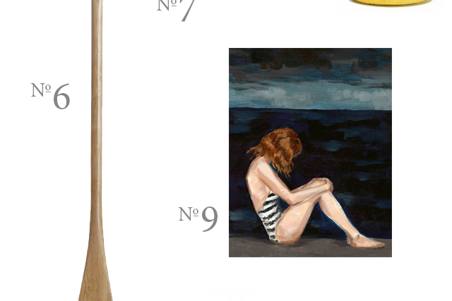 seaside painting and canoe paddle
