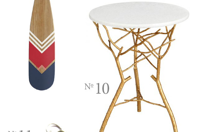canoe paddle and brass branch side table