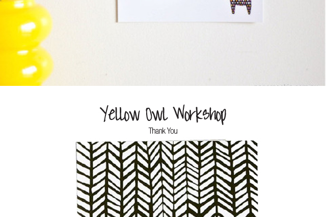 yellow owl workshop chevron thank you card