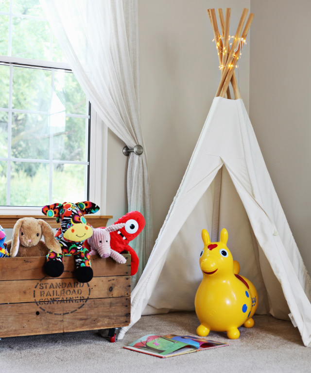 a kid's playroom with adult style