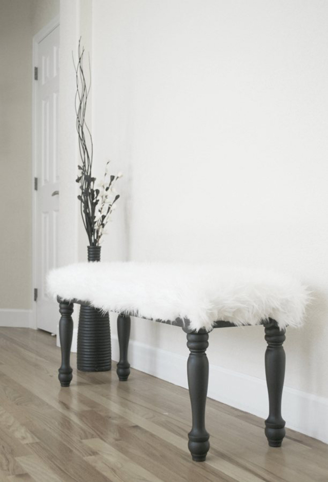 Faux Sheepskin Bench Makeover