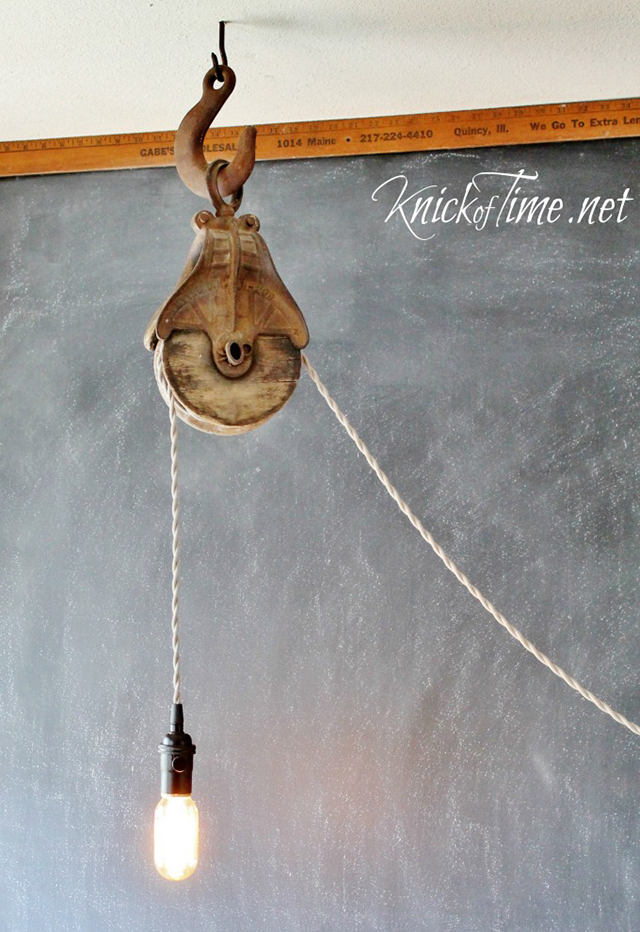 Whimsical Barn Pulley Light