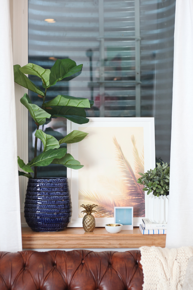 One Room Challenge — Fall 2015 Finale. Final room reveal of my Home Office design project. A makeover with vintage finds mixed with new home decor. I wanted a workspace that was comfy. Click thru to the blog for all the details. - Interior Design using the Minted Wilder California Palm Tree Print