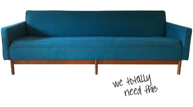 vintage blue sofa from Chairish