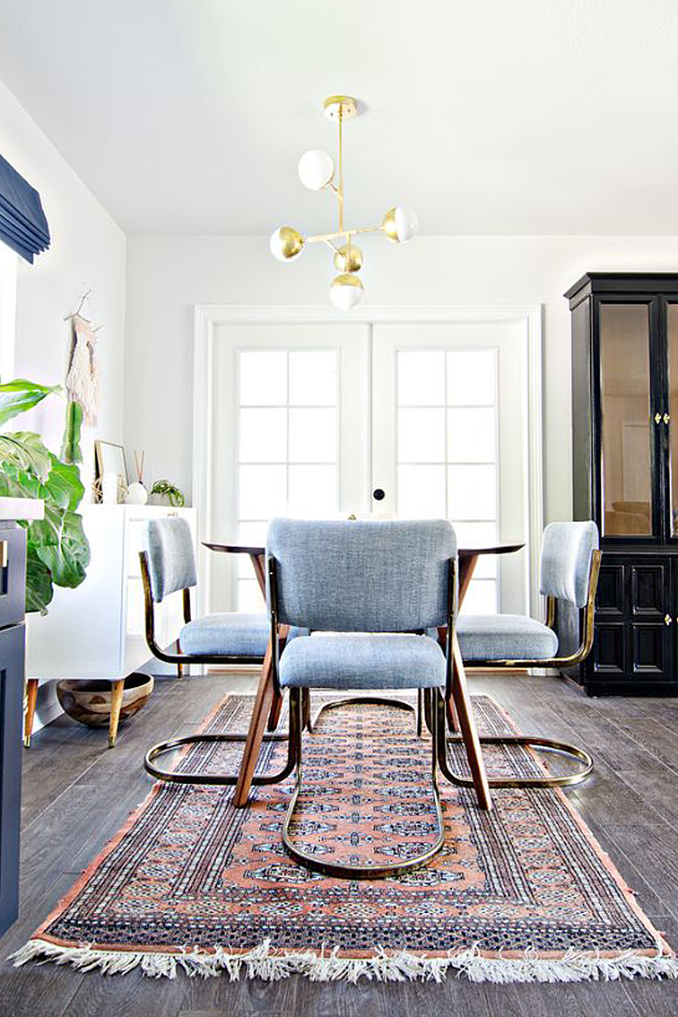 Dining Room Interior Design Ideas. Brass Chairs Paired With A Vintage Wood Dining  Room Table