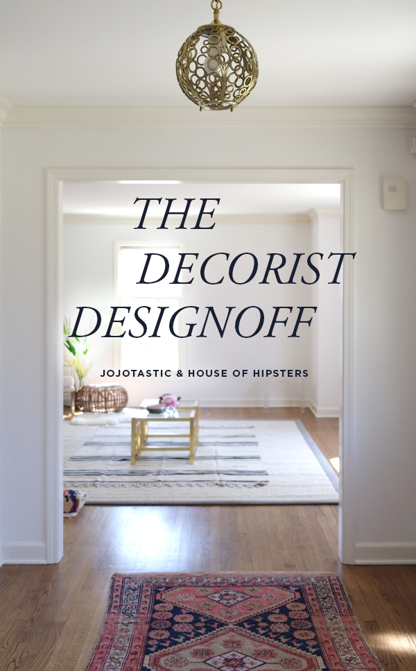 Decorist DesignOff with House Of Hipsters and Jojotastic. Living Room Virtual Interior Design. Makeover. Mid Century, Hollywood Regency Farmhouse Chic Boho style.