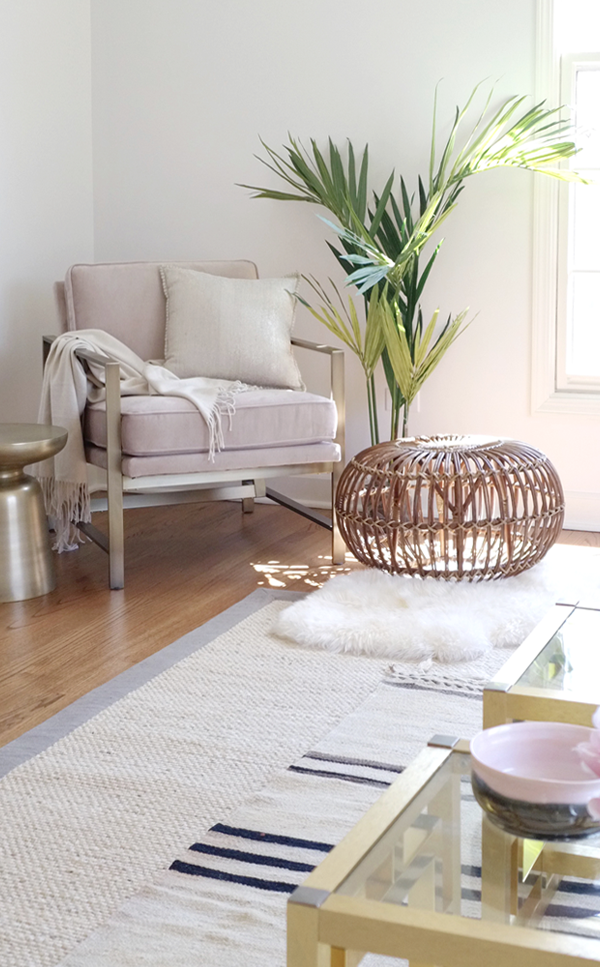 Blogger Stylin Home Tour - Summer Edition - living room - west elm blush pink brass chair
