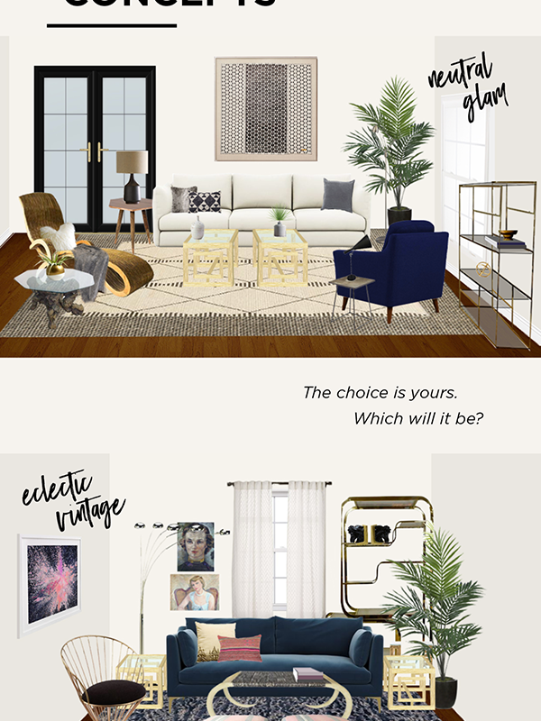 Decorist DesignOff with House Of Hipsters and Jojotastic. Living Room Virtual Interior Design. Makeover. Eclectic Vintage and Neutral Glam.