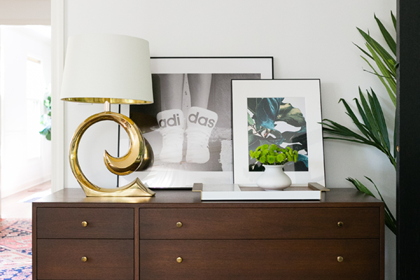 Decorist DesignOff with Jojotastic. Brass lamp is an original Pierre Cardin brass lamp. Artwork by Nicole Cohen SketchFortyTwo http://www.nicolecohenart.com/