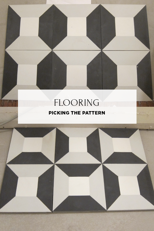 Choosing a flooring pattern using Clé Tile's cubicon encaustic cement tile. House Of Hipsters One Room Challenge.