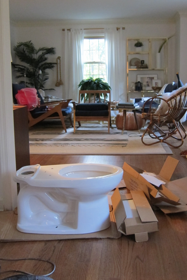 Toilet in the living room. One Room Challenge disasters. House Of Hipsters bathroom makeover.