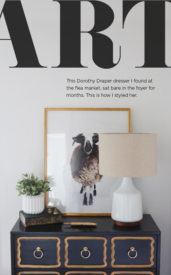 Dorothy Draper Dresser - Interior styling with the artwork Kingdom by Randal Ford. I love the masculine ram with the Dorothy Draper Hollywood Regency glam.