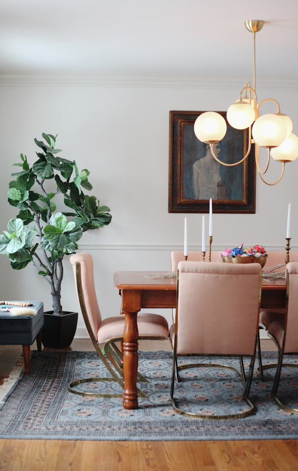 House Of Hipsters Holiday Home Tour - BSHT Christmas 2016 — The formal dining room and pink Pierre Cardin brass cantilever chairs. Oh so Hollywood Regency.