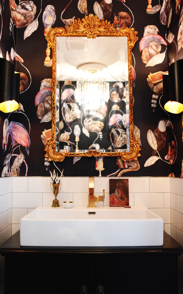 Eclectic Bathroom Makeover. bold, glam and dramatic. House Of Hackney Wallpaper.