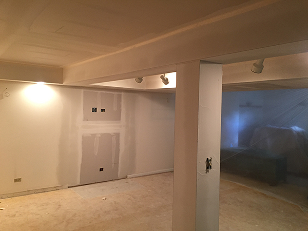Basement renovation after the flood. Drywall was first on the list.