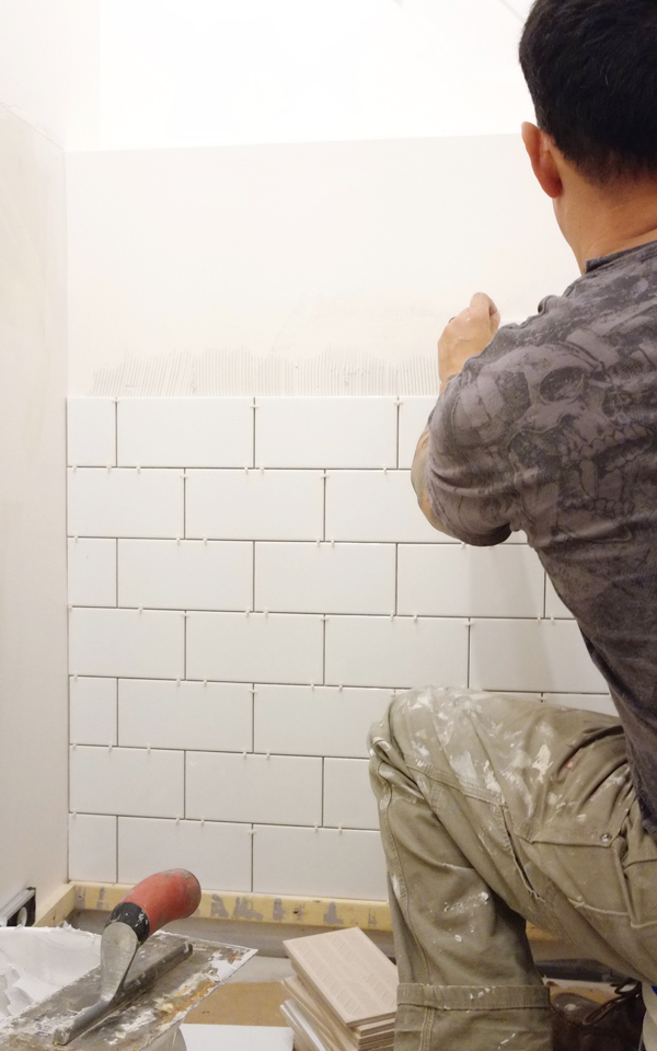 White subway tile from Clé Tile was installed on the walls.