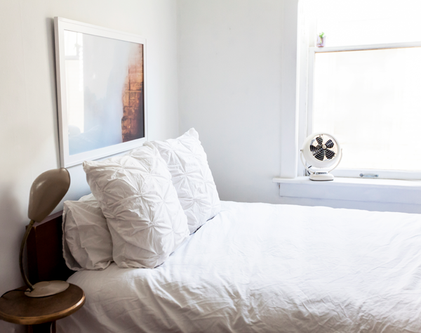Marianne Brown Home Tour - Mid-Century Modern Minimal Home Decor - white minimal bedroom eclectic