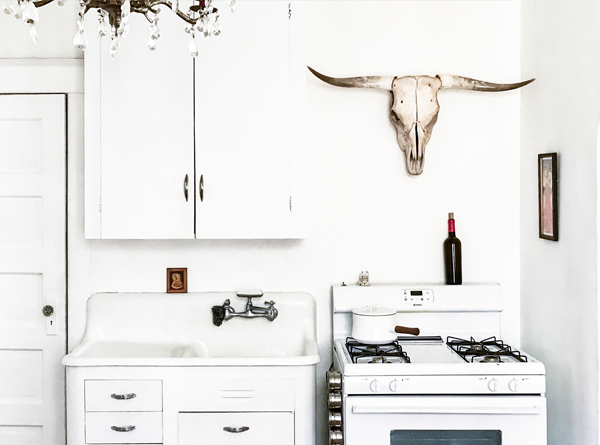 White vintage kitchen - Eclectic – Marianne Brown Home Tour - Mid-Century Modern Minimal Home Decor