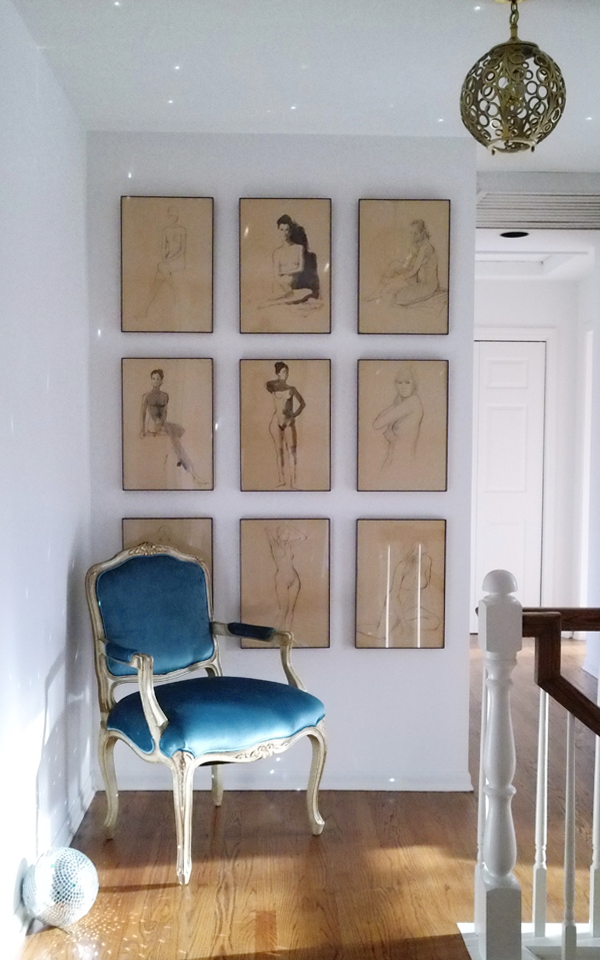 Hallway Decor - Vintage Peacock Blue Velvet Louis XV Fauteuil Chair Nude Sketches Disco Ball via House Of Hipsters