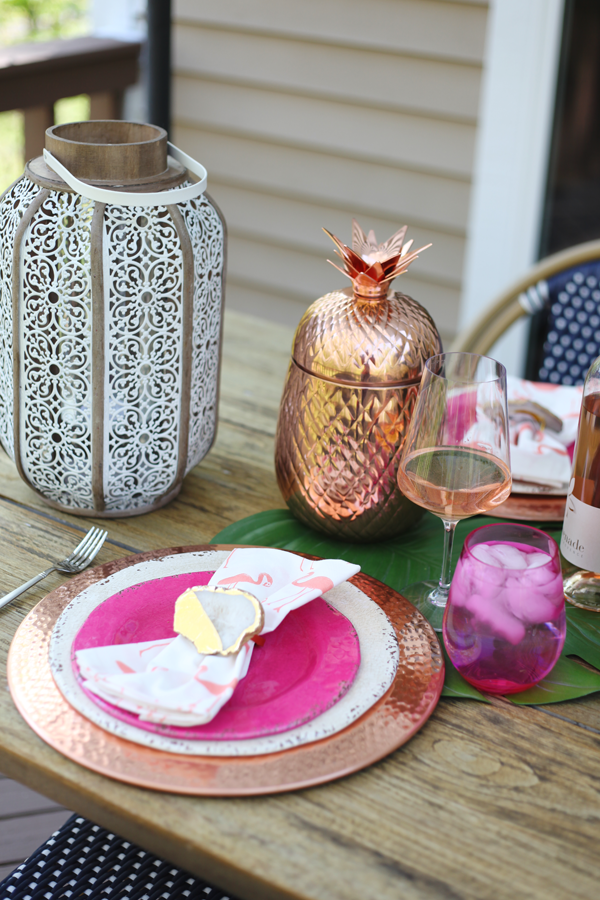 Outdoor Entertaining in the Neighborhood - Cute Pineapple ice bucket and lantern #Pier1BlockParty #pier1love
