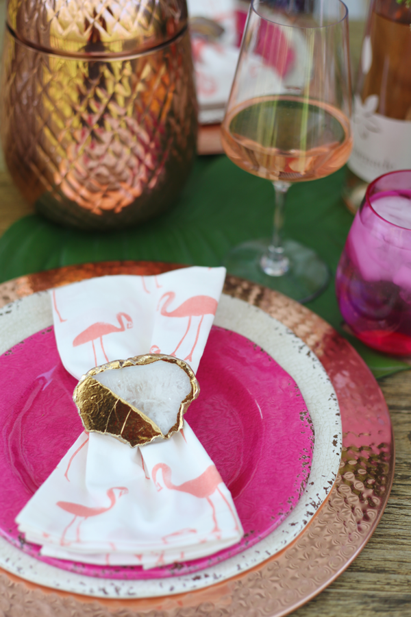 Outdoor Entertaining in the Neighborhood - Flamingo print napkins and Geode napkin rings #Pier1BlockParty #pier1love