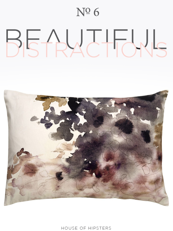 Beautiful Distractions No. 6 - Watercolor floral pillow in grays, pink and purple.