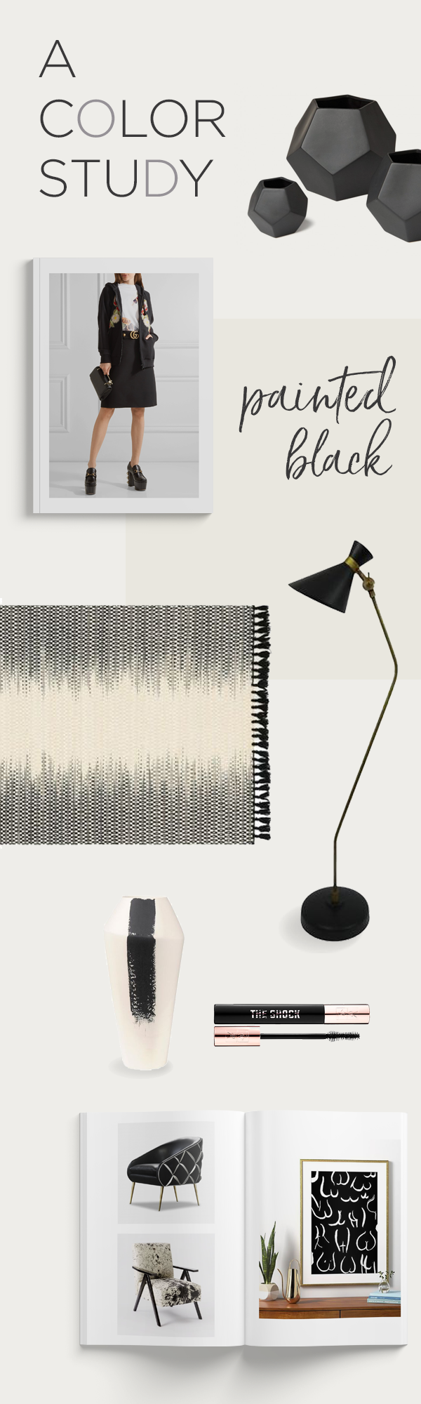 The Color Black: Black rug, black mid-century modern lamp, black chair, black vase