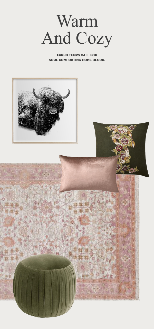 Pink persian rug and green ottoman with bull in snow artwork