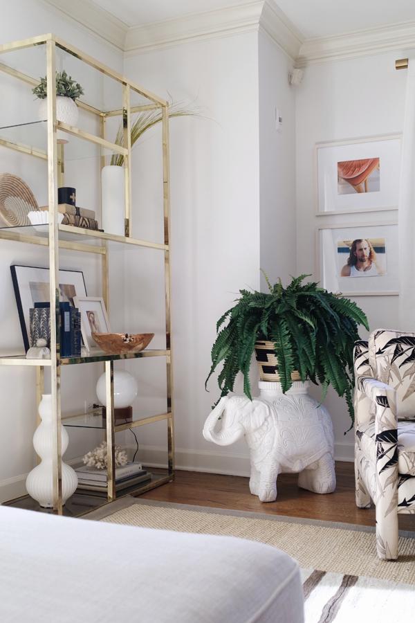 No Makeup Home Tour - House of Hipsters Living Room - white elephant plant stand, brass etagere- modern boho chic