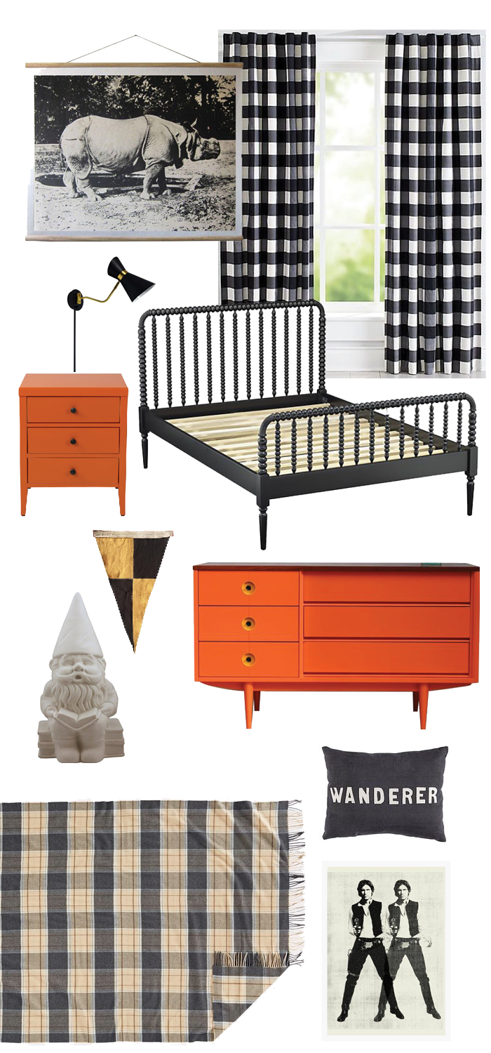 This boy's bedroom makeover is perfect for the tween and teen. Black and white keeps the space clean, while pops of orange add playfulness. Mid-Century Modern