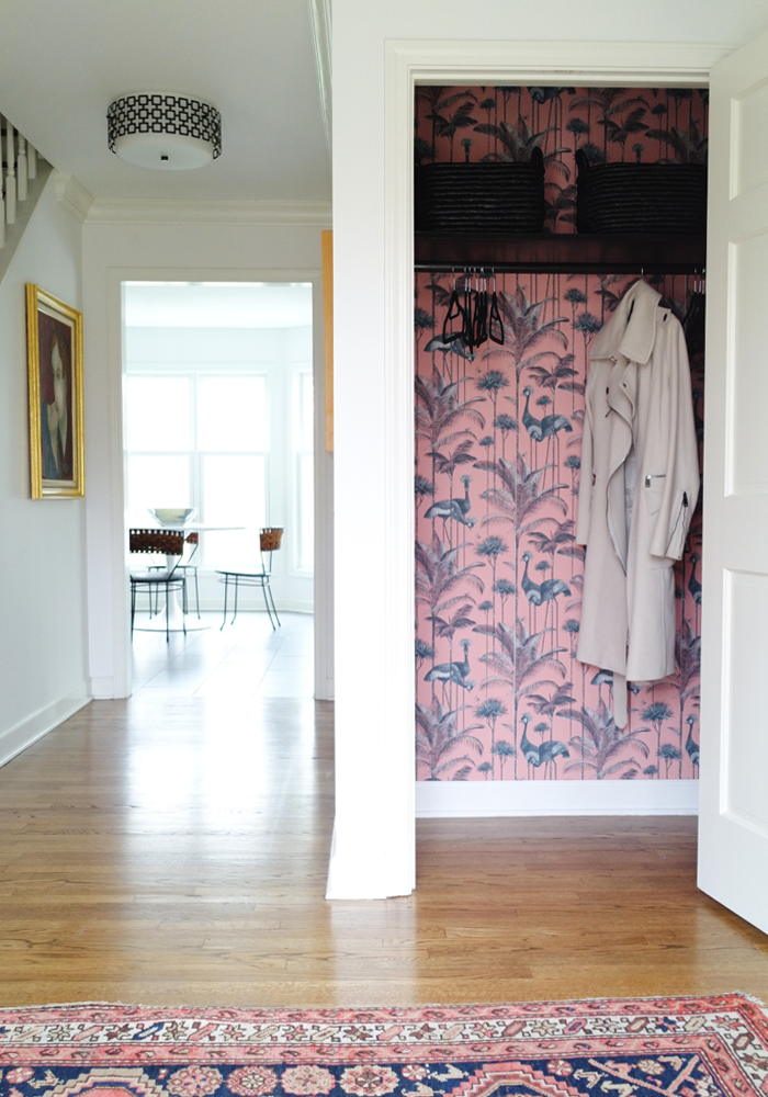 Add excitement to a closet by adding a wallpaper surprise before and after