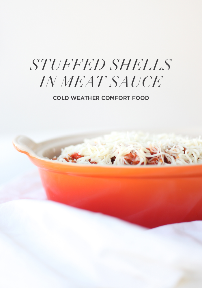 Stuffed Shells in Meat Sauce Recipe — Click to get the complete recipe on House of Hipsters.