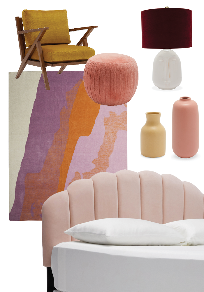 Interior Design Bedroom Moodboard - pink and boho with with Drew Barrymore Flower Line at Walmart