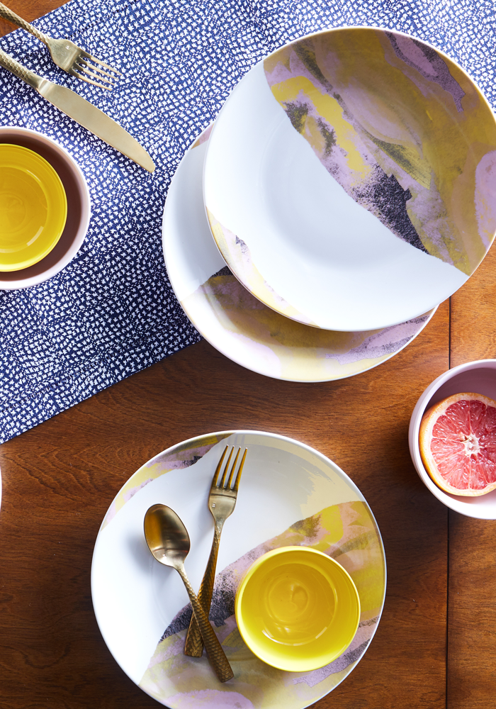 Loving these affordable yellow marble plates and serveware from Drew Barrymore Flower Line at Walmart