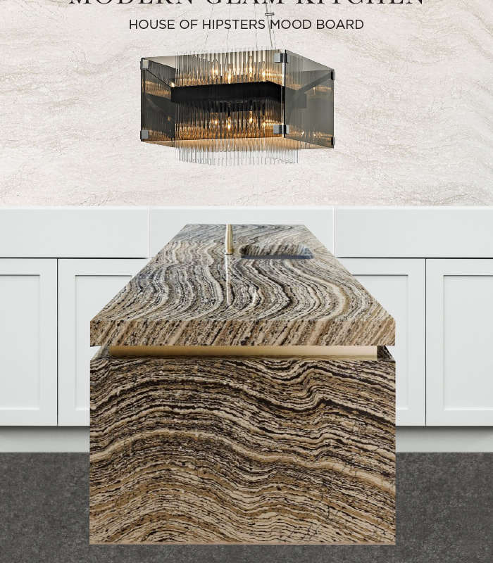 Glam meets organic modern kitchen with Cambria. Quartz waterfall island with brass inlay.