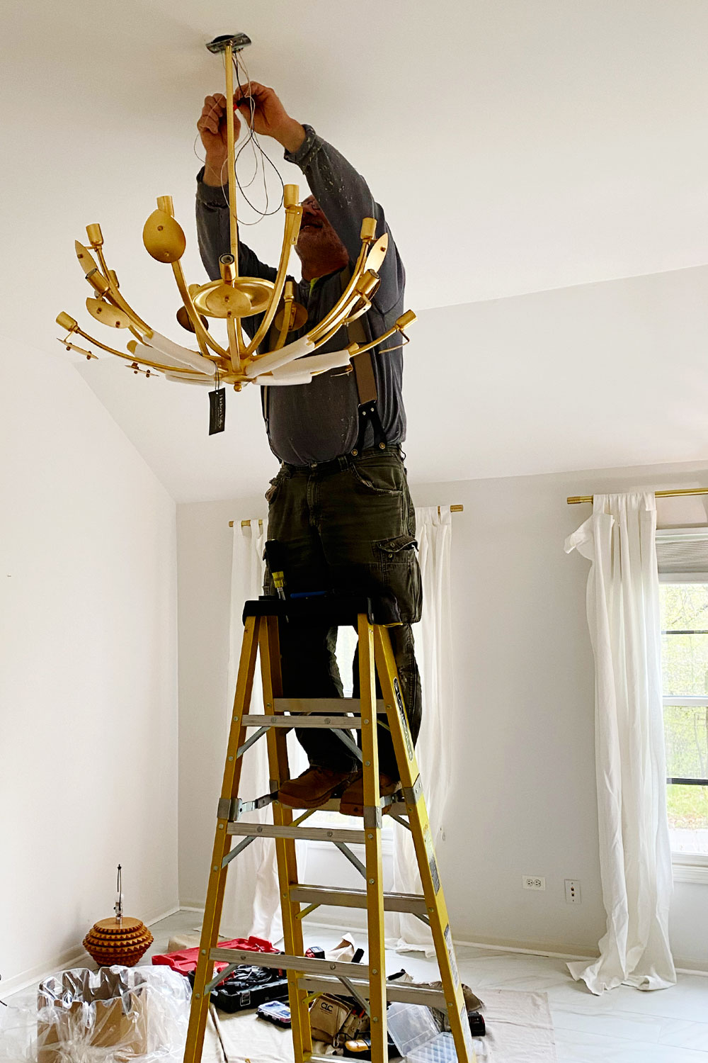 Hudson Valley Lighting Lotus chandelier installation